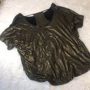 NWT Juicy Couture gold blouse with cut out neck.